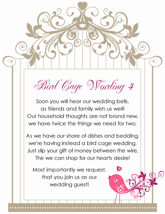 Money Tree Shower Invitation Wording Unique Birdcage Wishing Well Wordings