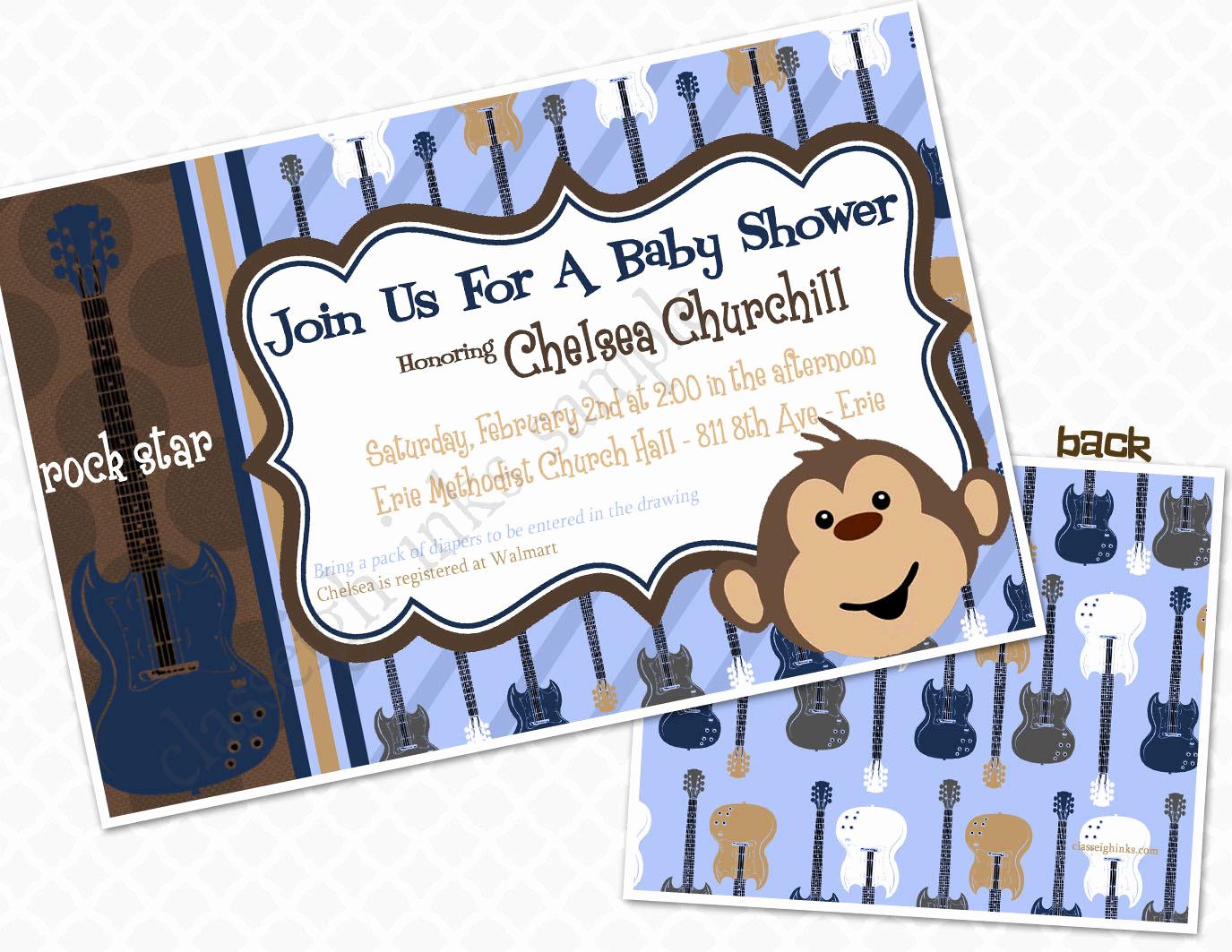 Monkey Baby Shower Invitation Awesome Monkey Rockstar Baby Shower Invitation Baby Shower Sprinkle