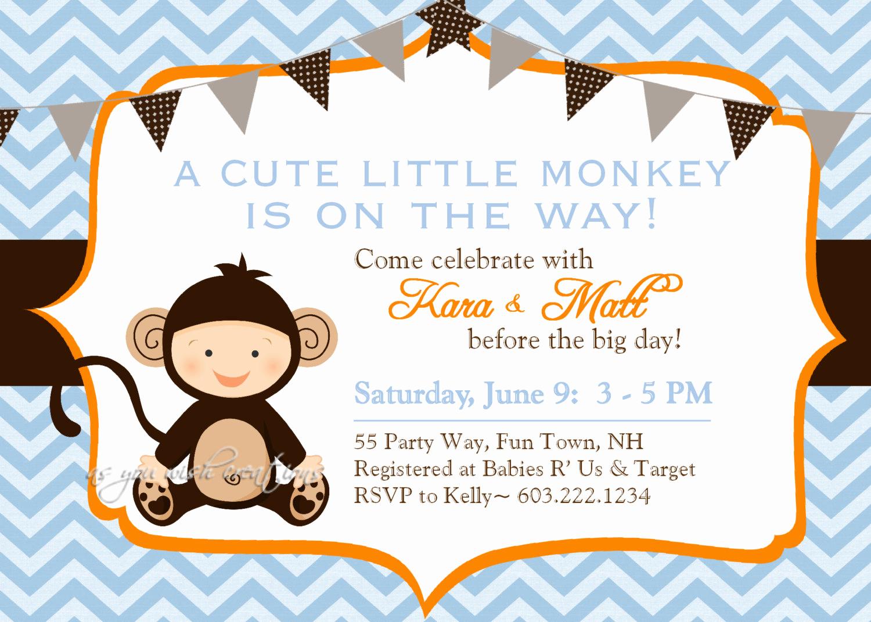 Monkey Baby Shower Invitation Beautiful Monkey Baby Shower Invitation Boy Invitation Monkey Shower