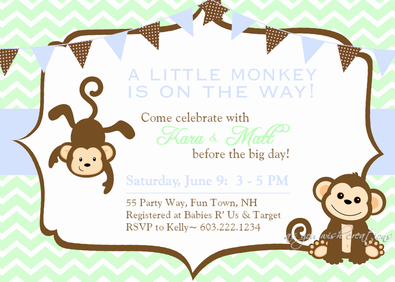 Monkey Baby Shower Invitation Best Of Baby Shower Invitation Monkey Chevron Blue by