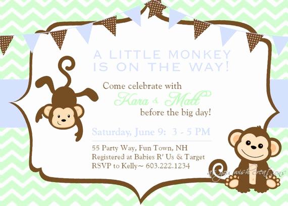 Monkey Baby Shower Invitation Best Of Monkey Baby Shower Invitation Boy Invitation Monkey Shower