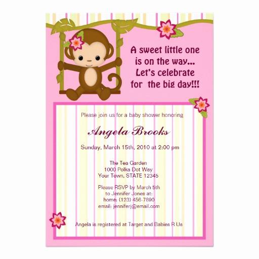 """Monkey Baby Shower Invitation Elegant Miss Monkey Baby Shower Invitations Girl 5"""" X 7"""