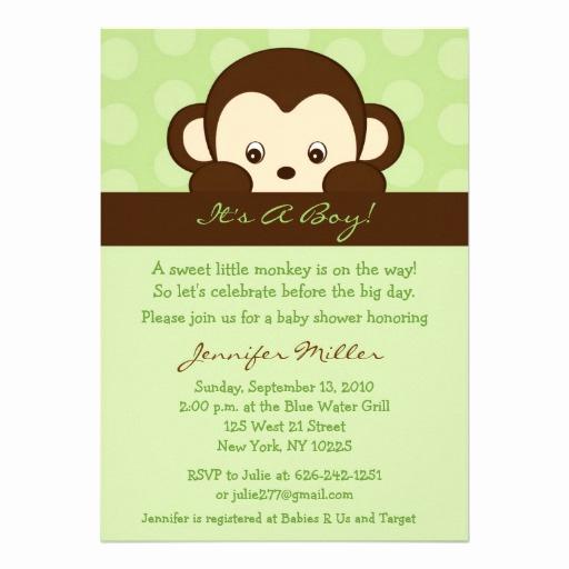 """Monkey Baby Shower Invitation Elegant Mod Pop Monkey Custom Baby Shower Invitations 5"""" X 7"""