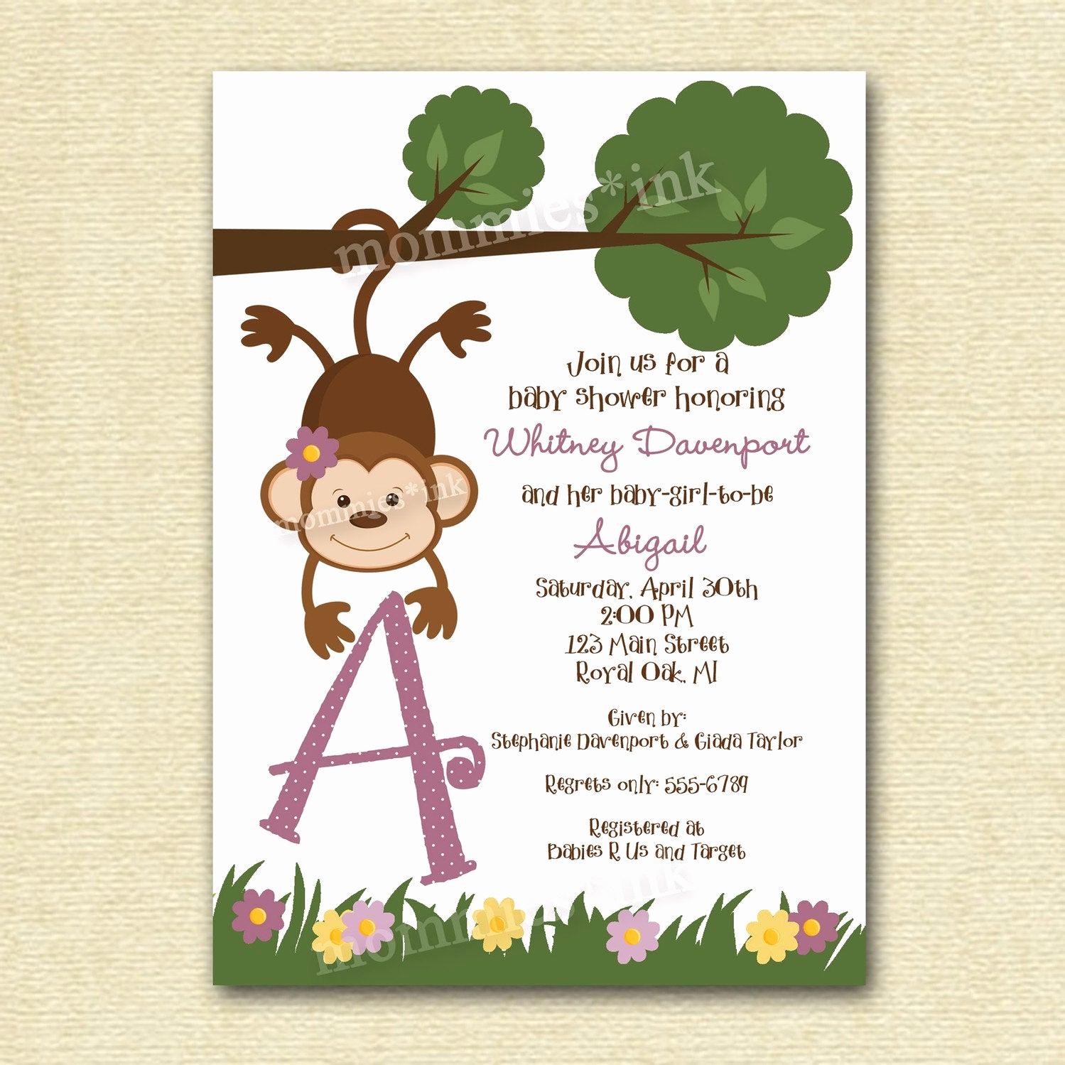 Monkey Baby Shower Invitation Fresh Baby Shower Invitation Baby Shower Invite Monkey Baby Shower
