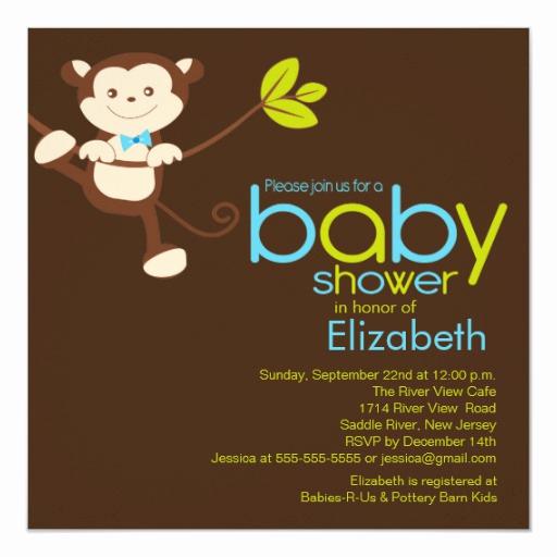 Monkey Baby Shower Invitation Fresh Cute Monkey Boy Baby Shower Invitation