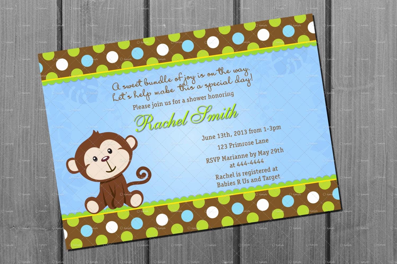Monkey Baby Shower Invitation Fresh Monkey Boy Baby Shower Party Invitation and Free Thank You