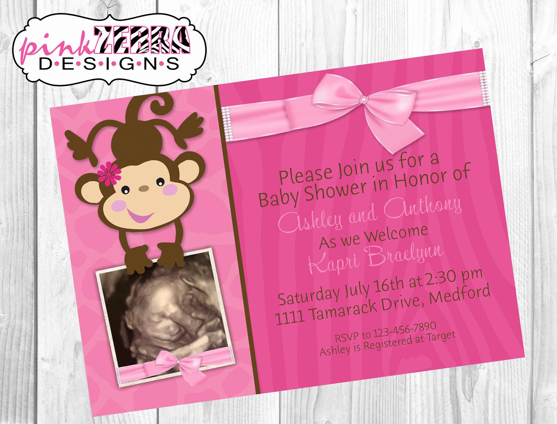 Monkey Baby Shower Invitation Fresh Pink Girly Monkey Baby Shower Invitation by Pinkzebradesigns7