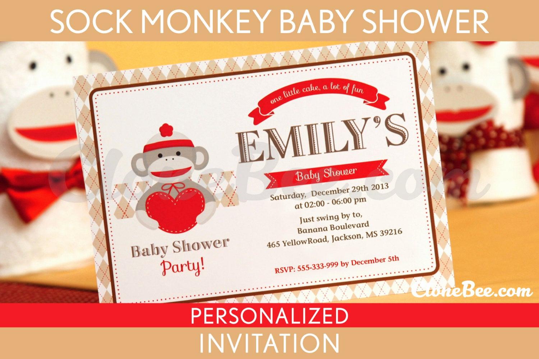 Monkey Baby Shower Invitation Fresh sock Monkey Baby Shower Invitation Personalized Printable