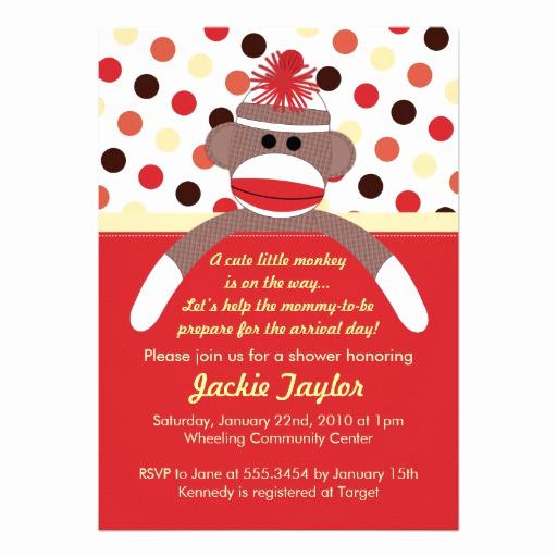 Monkey Baby Shower Invitation Inspirational Cute Little sock Monkey Baby Shower Invitation