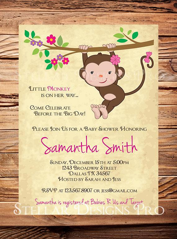 Monkey Baby Shower Invitation Inspirational Monkey Baby Shower Invitation Little Monkey Boy Girl Girl