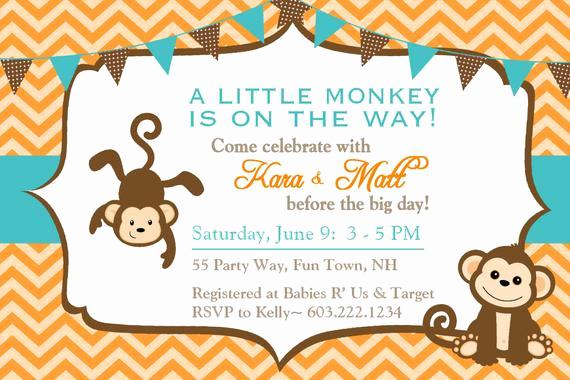 Monkey Baby Shower Invitation Inspirational Monkey Baby Shower Invitations Chevron Teal orange Brown