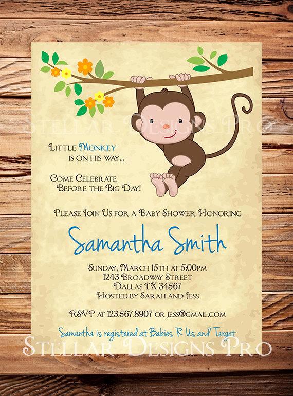 Monkey Baby Shower Invitation Luxury Monkey Baby Shower Invitation Little Monkey Boy Girl Girl