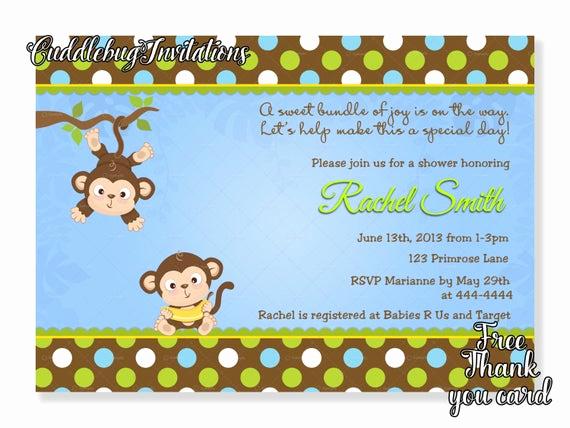 Monkey Baby Shower Invitation Luxury Monkey Boy Baby Shower Invitation Jungle Baby Boy Shower