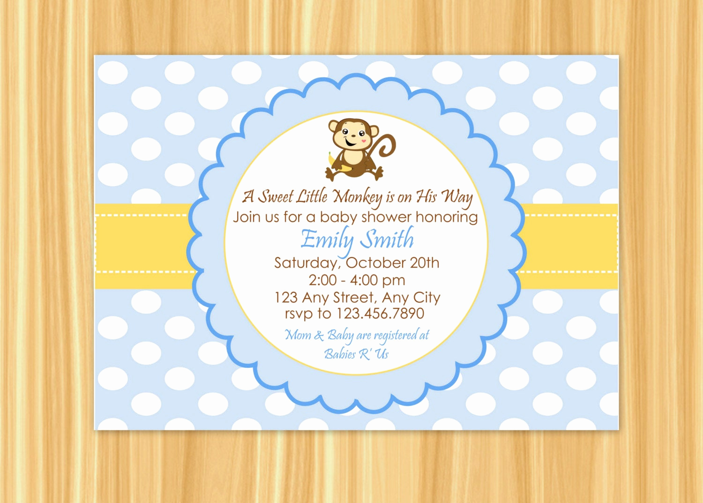 Monkey Baby Shower Invitation Luxury Monkey Invitation Monkey Baby Shower Invitation Baby