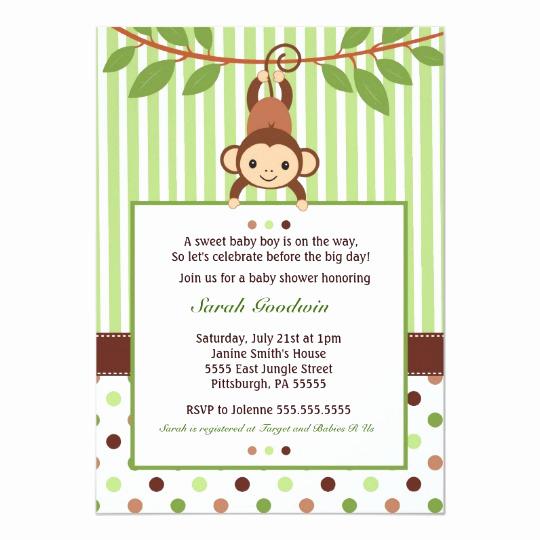 Monkey Baby Shower Invitation New Mod Monkey Baby Shower Invitation