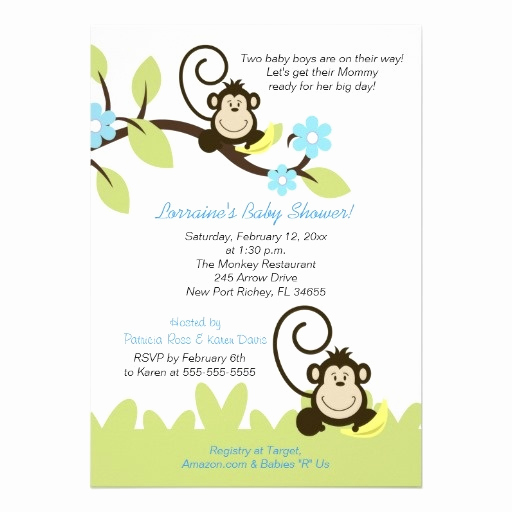 Monkey Baby Shower Invitation Templates Awesome 17 Best Images About Twin Monkey Baby Shower Invitations
