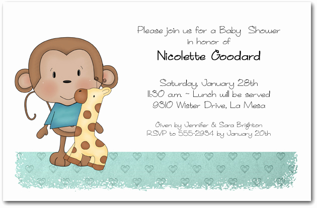 Monkey Baby Shower Invitation Templates Awesome Boy Baby Monkey Baby Shower Invitations