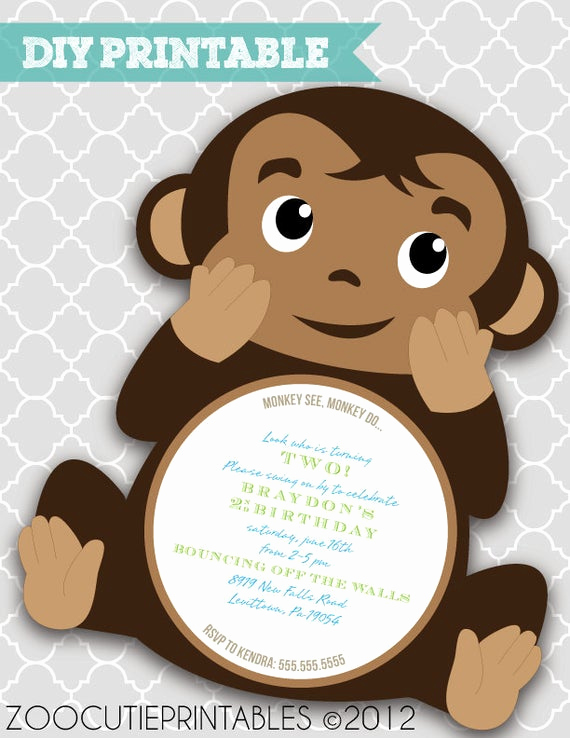 Monkey Baby Shower Invitation Templates Best Of Items Similar to Diy Monkey Invitations On Etsy