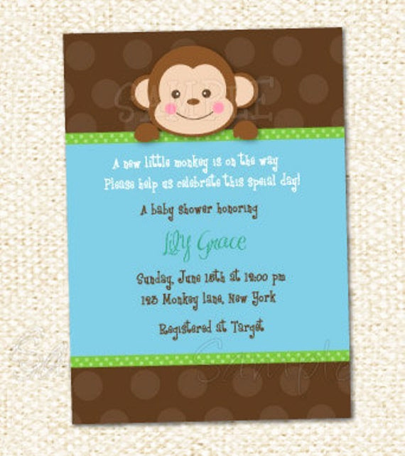 Monkey Baby Shower Invitation Templates Best Of Monkey Baby Shower Invitations Baby Shower Decoration Ideas