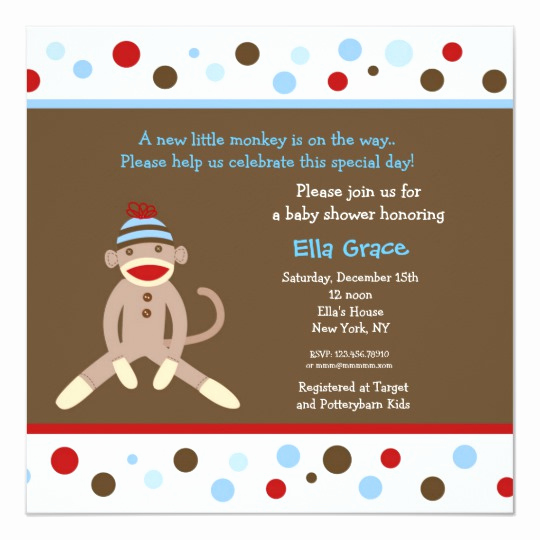 Monkey Baby Shower Invitation Templates Best Of sock Monkey Baby Shower Invitations Boy