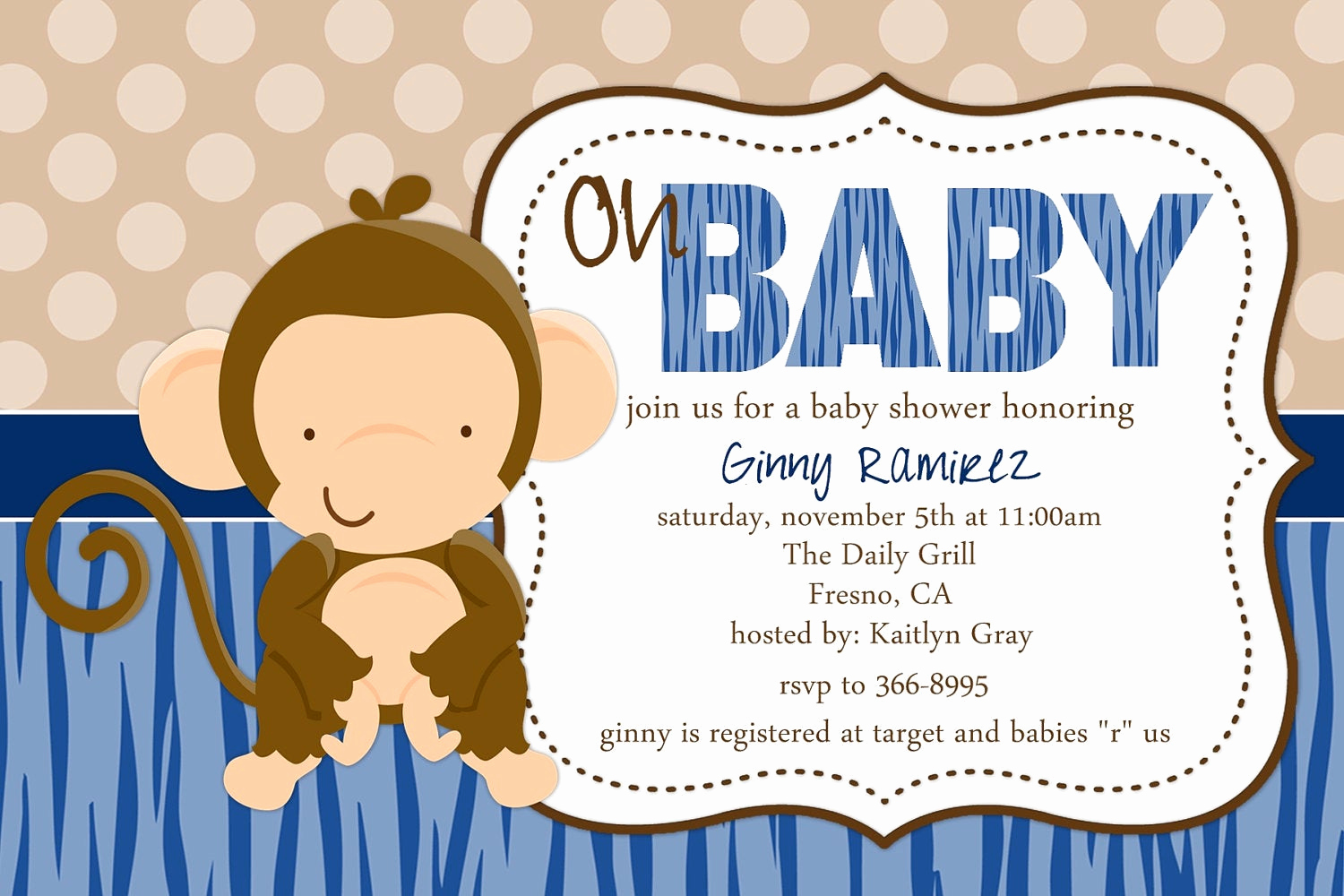 Monkey Baby Shower Invitation Templates Elegant Baby Monkey Baby Shower Invitation