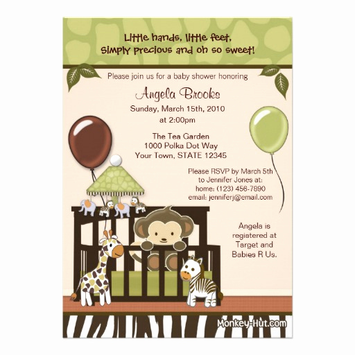 "Monkey Baby Shower Invitation Templates Elegant Monkey Baby Shower Invitation 5"" X 7"" Invitation Card"