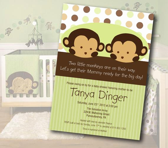 Monkey Baby Shower Invitation Templates Elegant Twin Monkey Baby Shower Invitation Digital File Instant