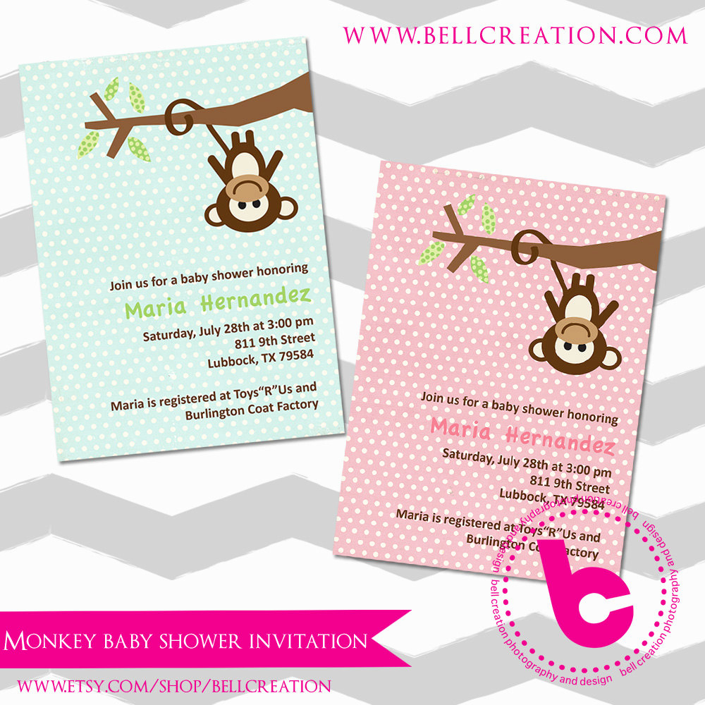 Monkey Baby Shower Invitation Templates Fresh Boy or Girl Monkey 5x7 Baby Shower Invitation Template