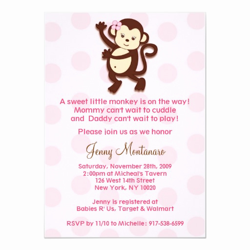 Monkey Baby Shower Invitation Templates Fresh Girly Monkey Baby Shower Invitations Template