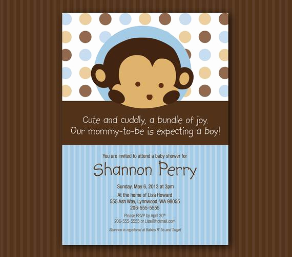Monkey Baby Shower Invitation Templates Inspirational Blue Monkey Baby Shower Invitation Matches Mod Pod Pop Monkey