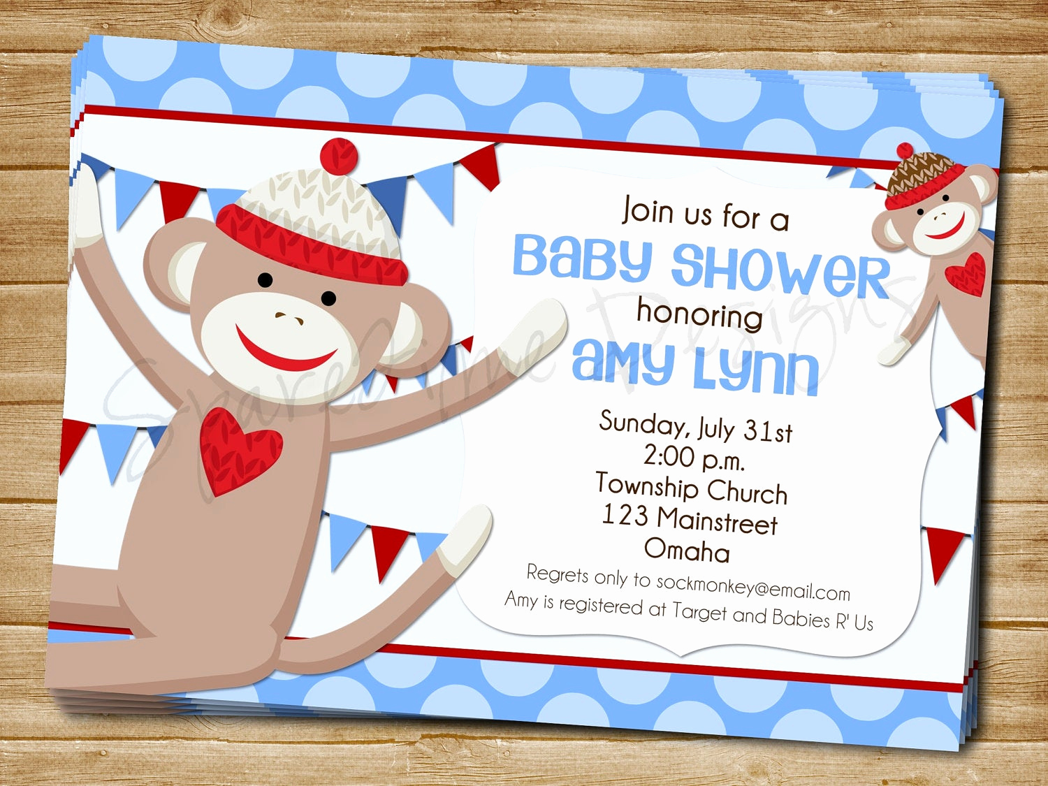 Monkey Baby Shower Invitation Templates Inspirational Printable sock Monkey Baby Shower Invitation by Einkstudio