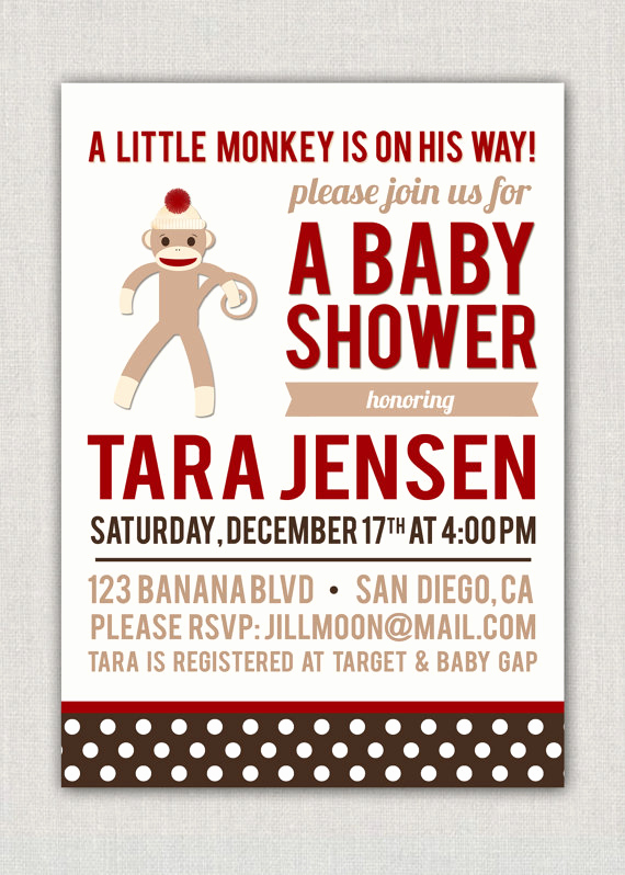Monkey Baby Shower Invitation Templates Inspirational sock Monkey Baby Shower Invitations