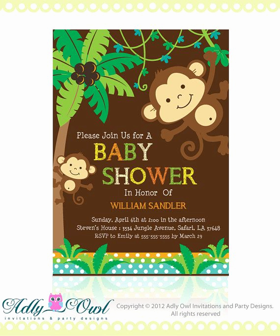 Monkey Baby Shower Invitation Templates Lovely Baby Monkey Invitation for Baby Shower Editable In Brown