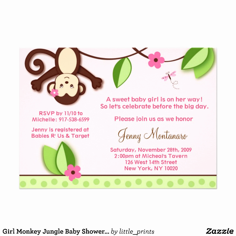 Monkey Baby Shower Invitation Templates Lovely Girly Monkey Baby Shower Invitations Template
