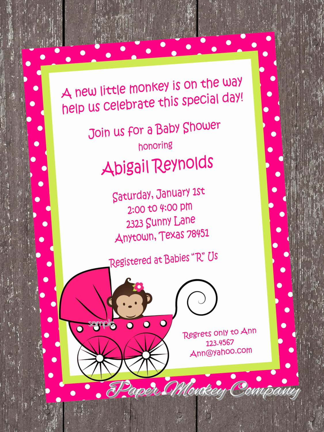 Monkey Baby Shower Invitation Templates Lovely Monkey Baby Shower Invitation by Pmcinvitations On Etsy