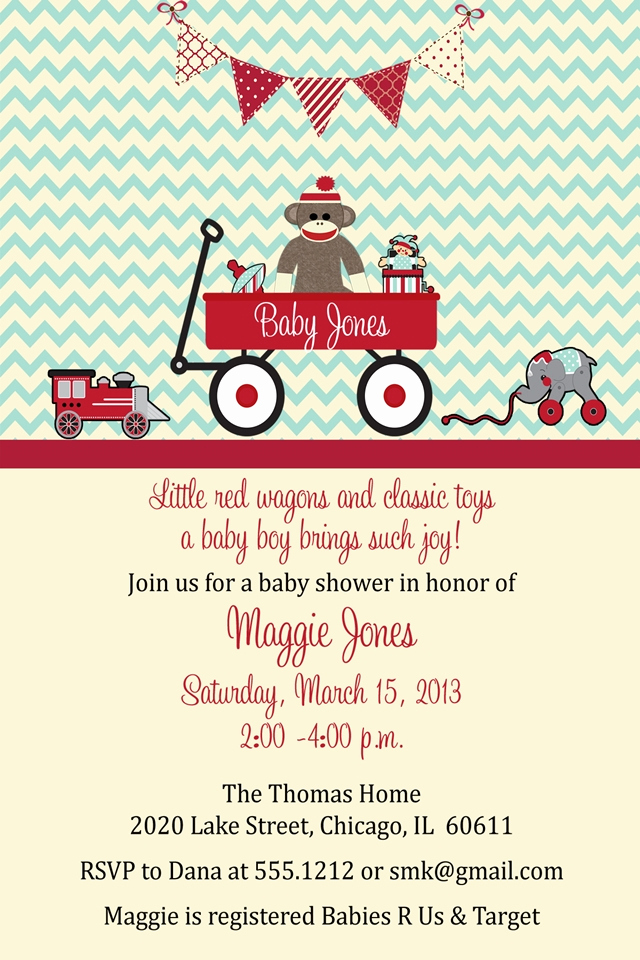 Monkey Baby Shower Invitation Templates Lovely sock Monkey Baby Shower Invitations