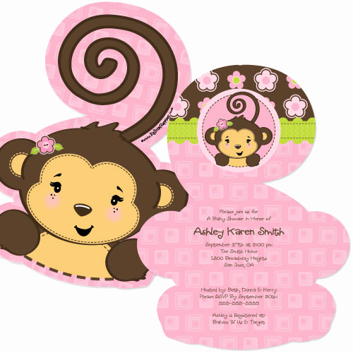 Monkey Baby Shower Invitation Templates New Girl Monkey Baby Shower Invitation Templates