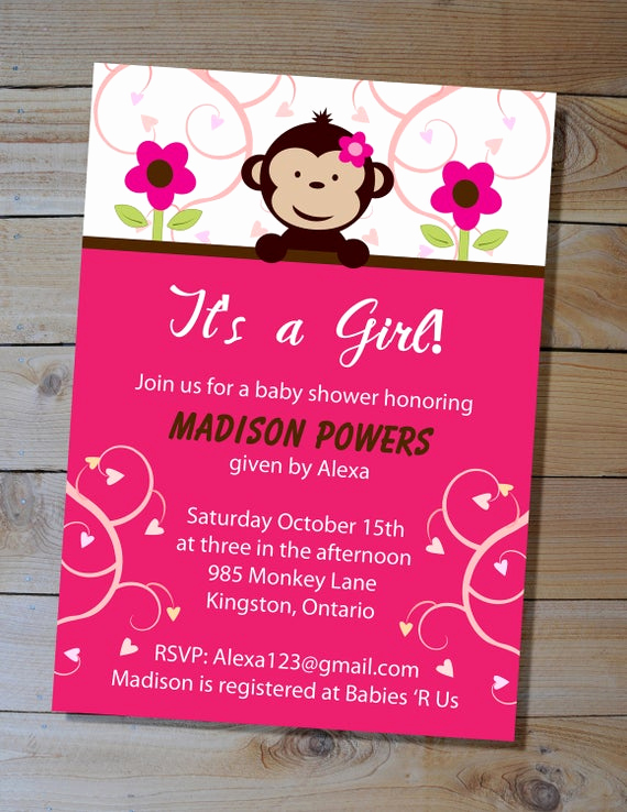 Monkey Baby Shower Invitation Templates New Monkey Baby Shower Invitation Choose Your Colours Diy