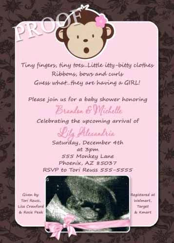 Monkey Baby Shower Invitation Templates Unique Monkey Girl Baby Shower Invitations and Shower