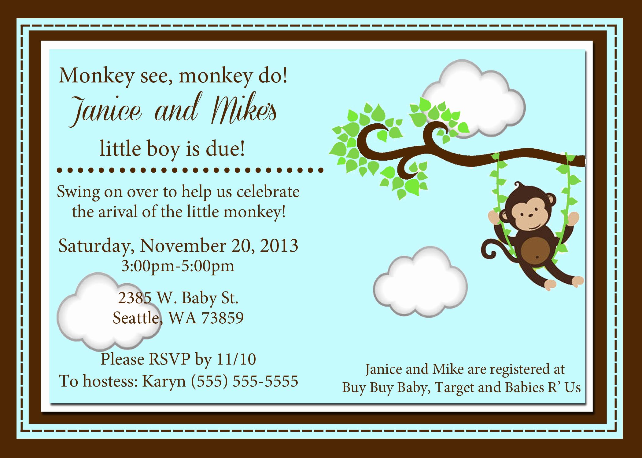Monkey Baby Shower Invitation Unique Monkey Baby Shower Invitations