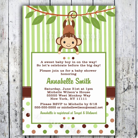 Monkey Invitation Templates Free Awesome Mod Monkey Baby Shower Invitation Printable Boy or Girl