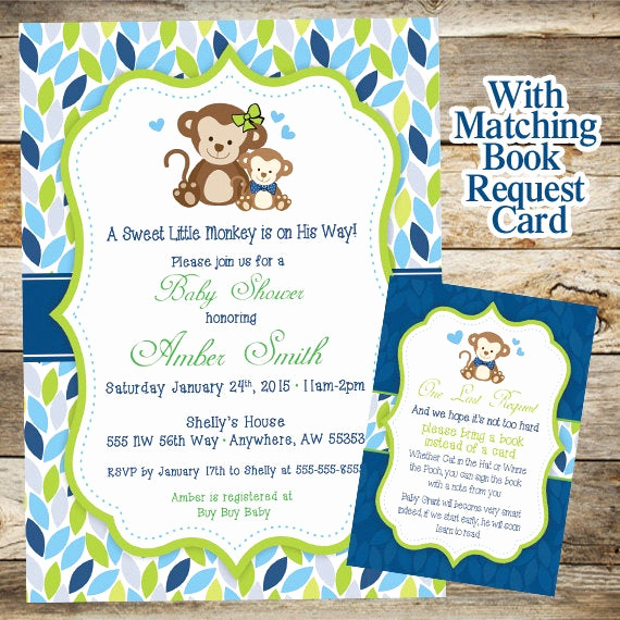 Monkey Invitation Templates Free Awesome Monkey Baby Shower Invitation Baby Shower Invitation Baby