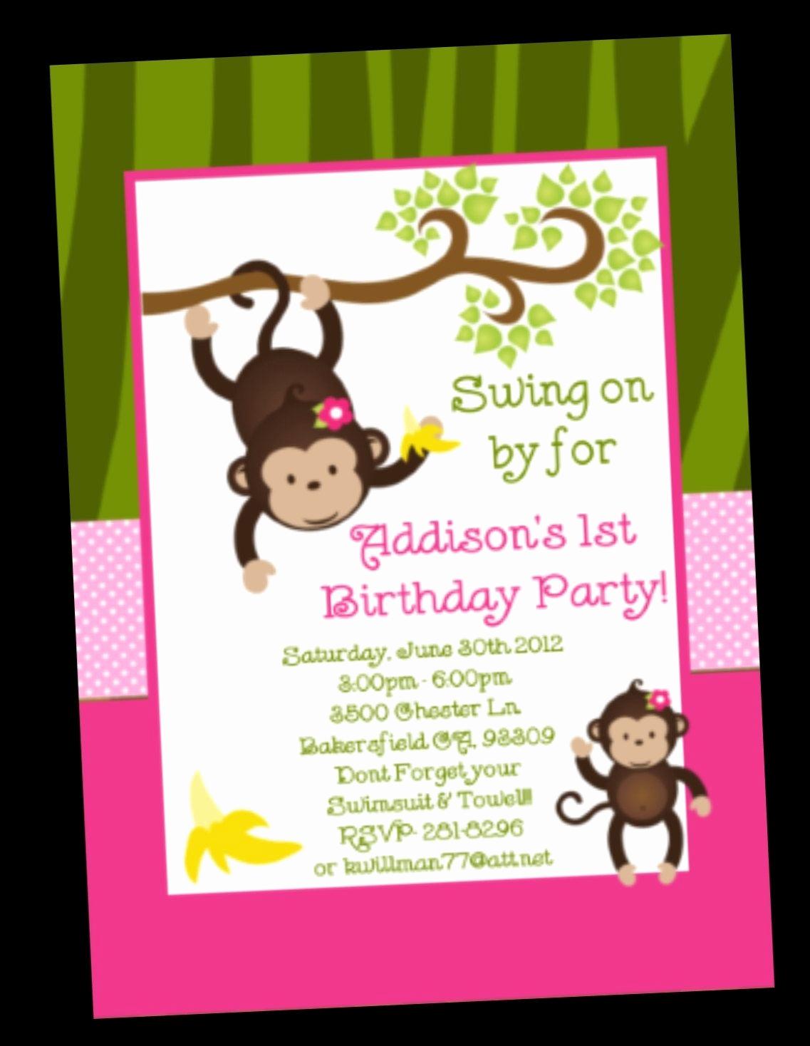 Monkey Invitation Templates Free Beautiful My Fav Monkey Birthday Invitation Monkey Birthday