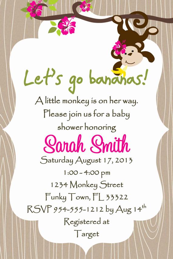 Monkey Invitation Templates Free Elegant Monkey Baby Shower Invitation Template 4x6 Girl by