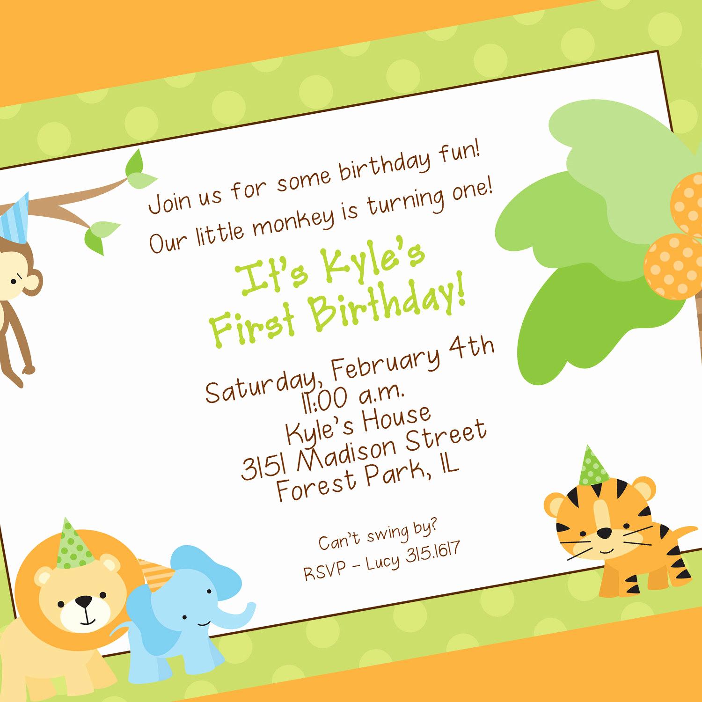 Monkey Invitation Templates Free Elegant Monkey Birthday Invitation — Birthday Invitation Examples