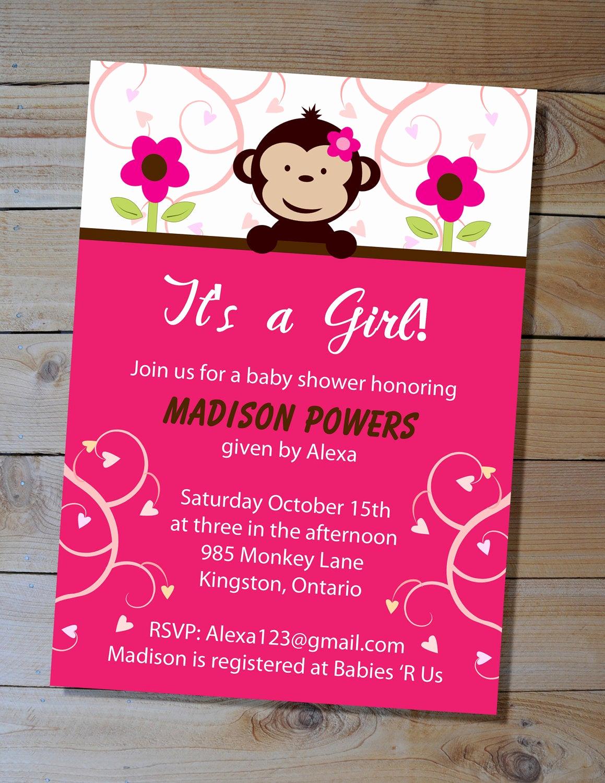 Monkey Invitation Templates Free Fresh Monkey Baby Shower Invitation Choose Your Colours Diy