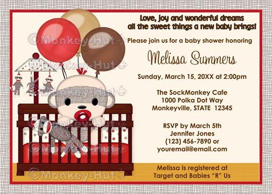 Monkey Invitation Templates Free Fresh sock Monkey Baby Shower Invitations Templets