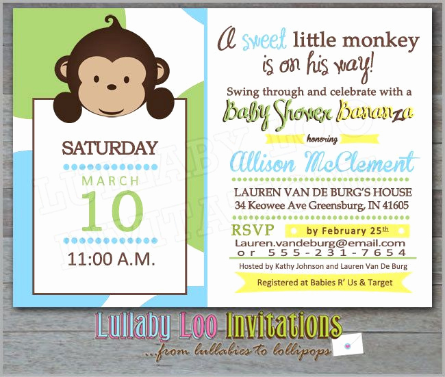 Monkey Invitation Templates Free Lovely 1000 Images About Best Monkey Baby Shower Invitations