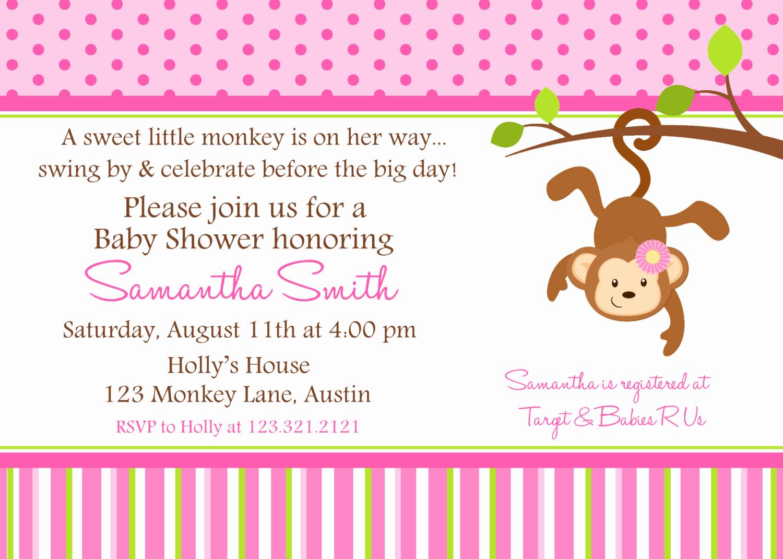 Monkey Invitation Templates Free Luxury Monkey Baby Shower Invitation Ideas
