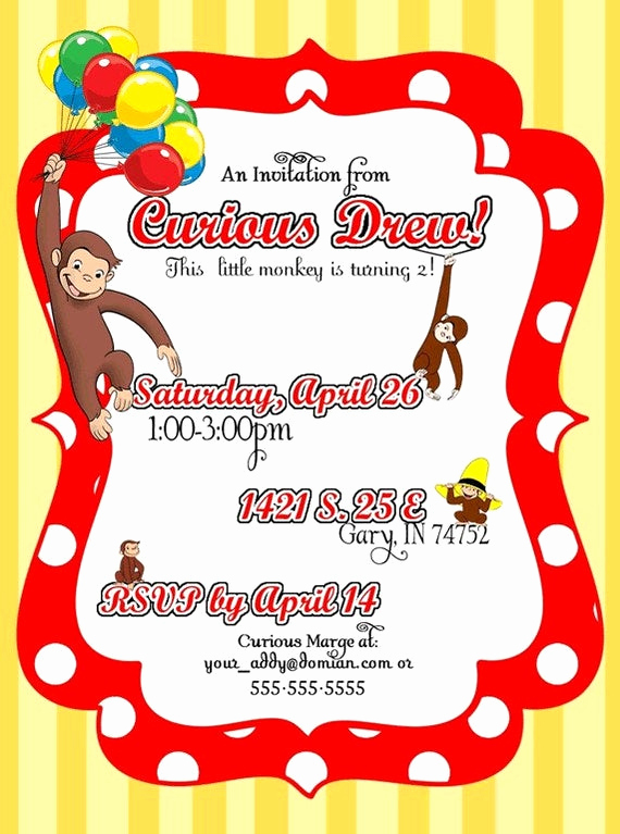 Monkey Invitation Templates Free New Diy Printable but Customized Curious George Monkey Invitation